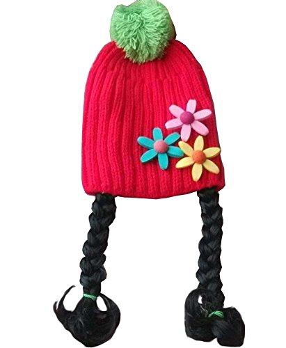 Cute Girl bébé Bonnet enfants Cap avec Braids Red Sunflower