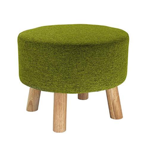 Poufs et repose-pieds Grand tabouret rembourré de luxe tabouret pouf rond pouf en bois 4legs et couverture en lin (8 couleurs) (Couleur : Green)