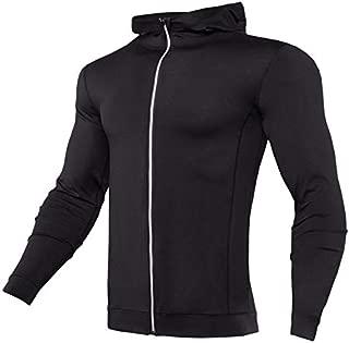 BEESCLOVER New Rashgard Hooded Running T Shirt Men Sport Shirt Men Zipper Hoody Gym T Shirt Compression Shirt Fitness Tshirt Training Tight Black Asian 3XL