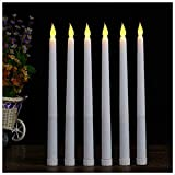 LACGO 11'' Long LED Flameless Tea Light Candle Battery Operated Flickering Ivory Body