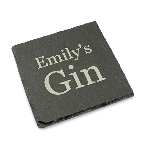 Personalised Slate Coaster Engraved with Name & Drink. Hen or Stag Keepsake, Birthday Gift.