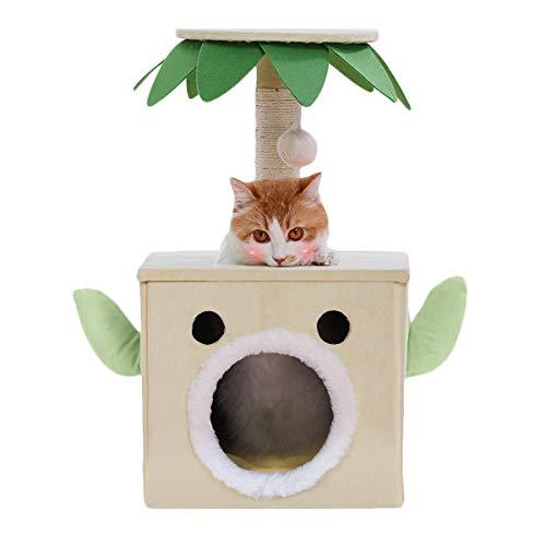 ZYLE 25,2 Pulgadas Centro de Actividad del árbol del Gato de Felpa con Rascador Rascador, Gato Jugar a Las Casitas Jump Plataformas