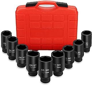 Anbull 1/2 Inch Deep Impact Socket Set, 9PCS Drive Axle Nut Socket Set 29mm 30mm 31mm 32mm 33mm 34mm 35mm 36mm 38mm Hex So...
