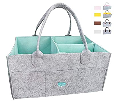 Baby Diaper Caddy Organizer - Baby Shower Gift Basket For Boys Girl | Large Portable Travel Car Organizer | Nursery Storage Bin for Changing Table | Newborn Registry Must Haves (Blue) by Lil Dandelion
