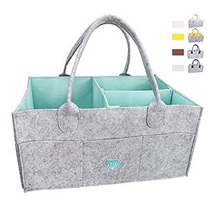 Baby Diaper Caddy Organizer – Baby Basket For Boys Girls | Large Portable Travel Car Organizer | Nursery Storage Bin for Changing Table | Newborn Registry (Blue)