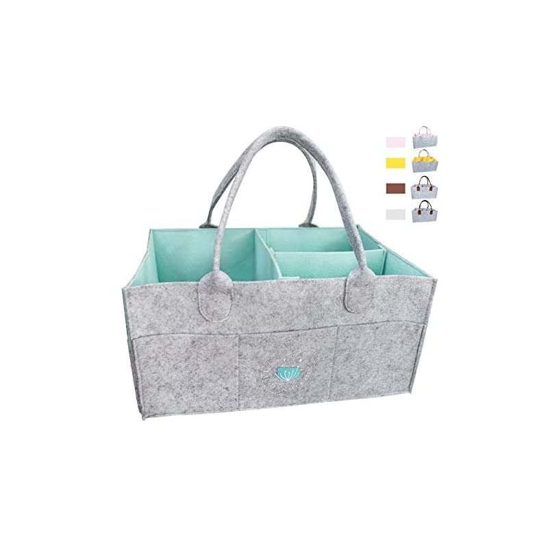 crib bedding and baby bedding baby diaper caddy organizer - baby basket for boys girls | large portable travel car organizer | nursery storage bin for changing table | newborn registry (blue)