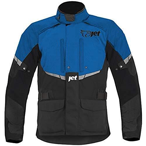 JET Chaqueta Moto Hombre Textil Impermeable con Armadura Tourer (S (EU 46-48), Azul)