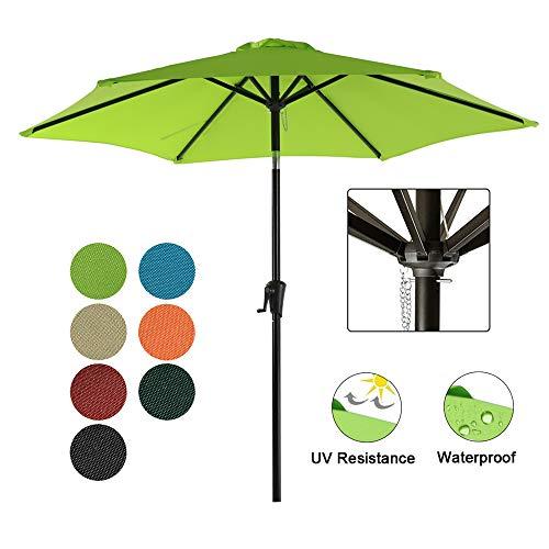 COBANA Patio Umbrella, 7.5' Outdoor Table Market Umbrella Push Button Tilt/Crank, 6 Ribs, Lime Green