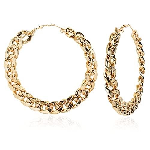 KINGVON KINGVON Pendientes de metal redondos geométricos retro a la moda Pendientes de círculo grande exagerados Regalo de joyería para mujeres Navidad, Día de San Valentín, Oro