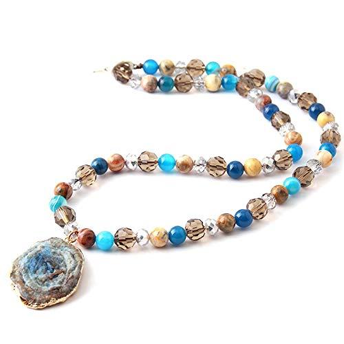 Fashion Bohemian Tribal Jewelry Beads Halsband Crystal bead and Stone Natural Shells Druzy Choker Necklace