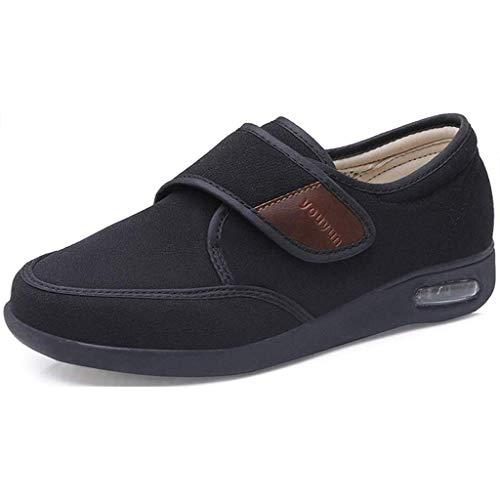 Zapatillas De Edema De Mujer, Zapatos De Diabetes De Invierno Zapatillas Para Caminar Ajustables Cojín De Aire Sin Deslizamiento Zapatillas Diabéticas Calientes,Negro,42