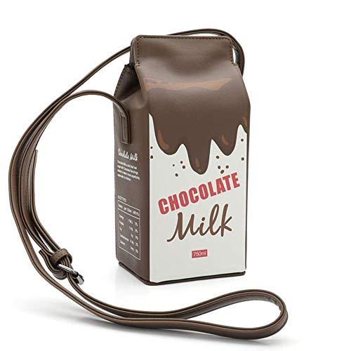 KongLyle Schultertasche für Damen, Milch Kiste Cartoon Schultertasche Damen Mädchen Umhängetasche Taschen Phone Tasche - Kaffee