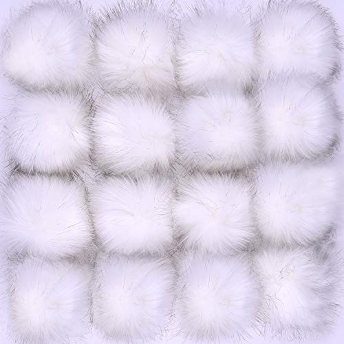 Coopay 16 Pieces Faux Fur Pom Pom Ball DIY Fur Pom Poms for Hats Shoes Scarves Bag Pompoms Keychain Charms Knitting Hat Accessories (White)