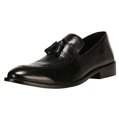 LIBERTYZENO Mens Tassel Slip On Loafers Genuine Leather Classic Casual Formal Dress Shoes Black