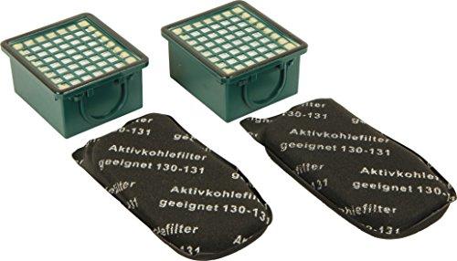 Kenekos TOP Set - Filterset 2 Geruchsfilter/Aktiv - Kohlefilter/AGF Filter + 2 HEPA- Filter/Mikrofilter/Hepafilter geeignet für Vorwerk Kobold VK 130 131 SC VK130 VK131