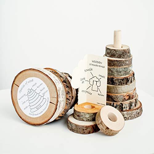 Holz Stapelturm für Babies, Stapelringe, ScheibenTurm, Bildungs Spielzeug Pyramide Montessori, Holz Stapler, Stapelspielzeug, umweltfreundlich 100% natürlich!