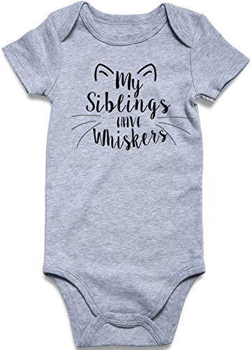 Cat Onesie Baby My Siblings Have Whiskers Bodysuit Short Sleeve Infant Nephew Romper Outfits for 6-12 Months