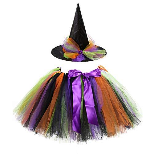 HEling Disfraz de Bruja Falda Tut de Malla Falda Corta de Colores de Gasa Plisada para Mujer Falda de Baile para Adultos