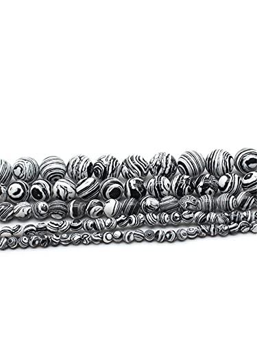Cuentas espaciadoras sueltas redondas de piedra natural, de color negro, blanco, de 15 pulgadas, de 4/6/8/10/12 mm, tamaño de selección para hacer joyas en blanco y negro de 4 mm de aprox. 93
