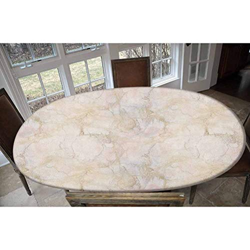 Elastic Polyester Fitted Table Cover,Pink and Peach Marble Background with Crack Patterns Architecture and Building Material Oblong/Oval Dinner Fitted Table Cloth,Fits Tables up to 48' W x 68' L