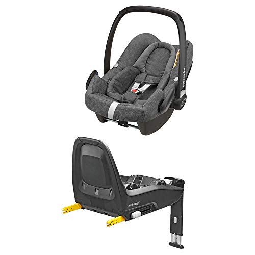 Bébé Confort Ovetto Rock Seggiolino Auto Gruppo 0+, 0-12 Mesi, I-Size, con Base Isofix FamilyFix One, Reclinabile, Cuscino Riduttore...