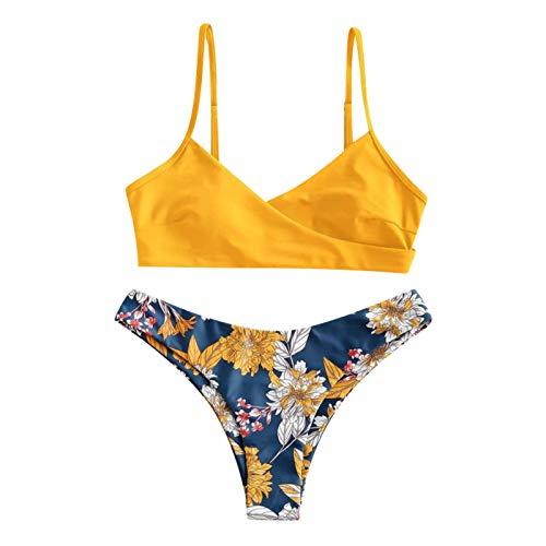 BBRS Las mujeres de dos piezas de impresión de flores divididas conjuntos más tamaño Beachwear traje de baño Bikini A
