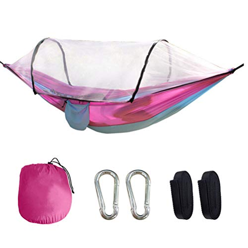 HERAHQ Camping Hammock with Automatic Open Mosquito/Bug Stand Net, Portable 2 Person Tent Swing Bed, for Backpacking Travel Beach Backyard Patio Hiking,Pink