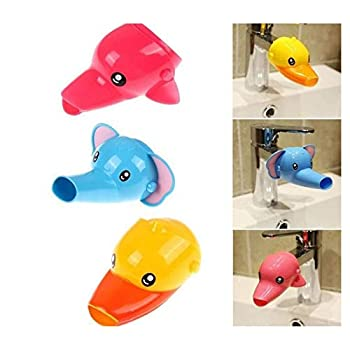 Cartoon Faucet Extender Sink Handle Extender for Toddler Baby Children Safe and Fun Hand-Washing Solution  Blue Elephant (1PCS