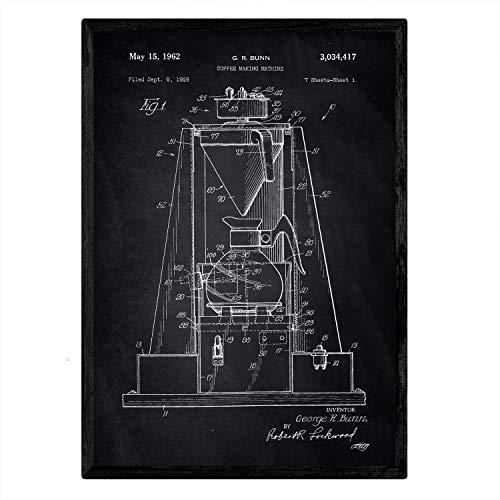 Poster Nacnic patent koffiemachine. Blad met oud ontwerp patent A3-formaat met zwarte achtergrond
