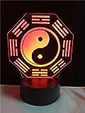 Chinesisches Tai Chi Acht Diagramme Glaubensdekoration 3D-Lichter Beleuchtung Kabel...