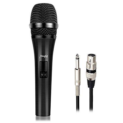 Mugig Dynamisches Mikrofon mit 5M XLR Kabel, Kardioid Unidirektional vergoldet Mikrofonkopf, für Leistung, Bühne, Karaoke, Public Speaking, Aufnahme, Sprache, Hochzeit, Indoor Outdoor Activity