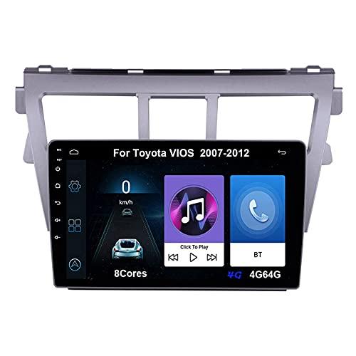 Autoradio Android Car Radio Stereo 9 Pulgadas Pantalla Táctil Para Toyota VIOS 2007-2012 Conecta Y Reproduce Cámara De Respaldo Estéreo De Coche Auto Dvd Player (Color : 8Cores 4G 4G64G)
