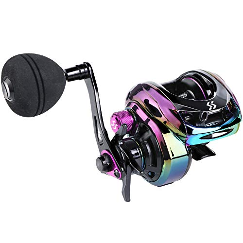 Sougayilang Baitcasting Reels - Colorful Fishing Reel, High Speed Baitcaster with 9+1 Ball Bearings, Gear Ratio 8.0:1, Magnetic Brake System Power Handle Casting Reels -Right