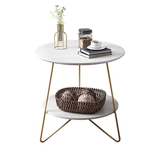 BingWS eindtafel bijzettafeltafel, kleine tafel marmer ronde bijzettafel met messing metalen frame, bijzettafel salontafel, goud
