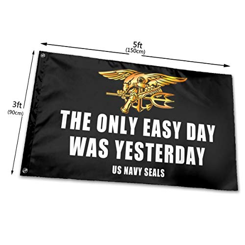 RONGANDHE The Only Easy Day was Yesterday Us Navy Seals Flag Banner 3x5 Feet Man Cave Party Garden House Outdoor 2