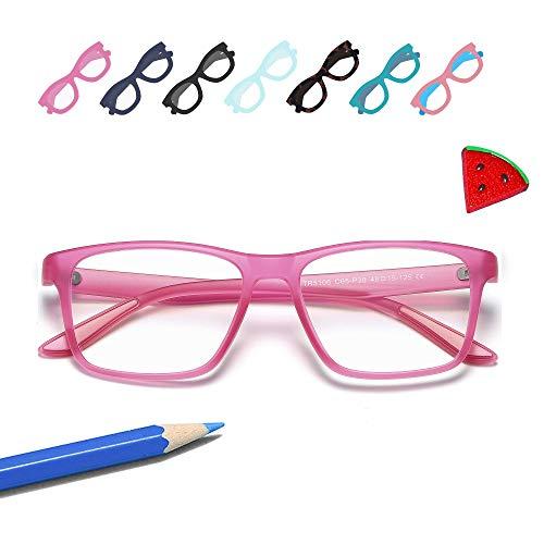 Penbea Kids Blue Light Blocking Glasses - Blue Light Glasses for Kids Girls Boys Age 7-12, Fake Glasses Anti Bluelight Glasses for Kids - Pink