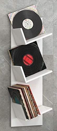 VCM Regal Schallplatten Möbel LP Aufbwahrung Archivierung Wandregal Hängeregal Holz Weiß 106 x 33 x 26 cm