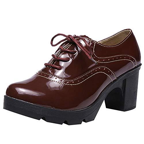 amropi Mujer Alto Tacon Ancho Plataforma de Cordones Oxford Vestido Zapatos