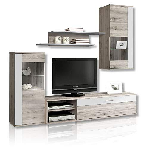 FORTE Moderne Wohnwand mit Beleuchtung, Holz, Sandeiche Dekor Kombiniert Mit Weiß, 213 x 41.3 x 184 cm