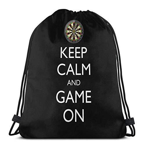 AOOEDM Bleib ruhig und spiel weiter - Dartscheibe Sport Sackpack Kordelzug Rucksack Gym Bag Sack