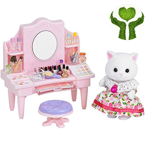 Meisje make-up speelgoed Mode Meisje Simulatie Make-up Speelgoed Mini Prinses Speelhuis Rollenspel Kaptafel Exquise Cartoon Kitten Pop Cadeau (Color : Pink, Size : 23 * 15 * 5.5cm)