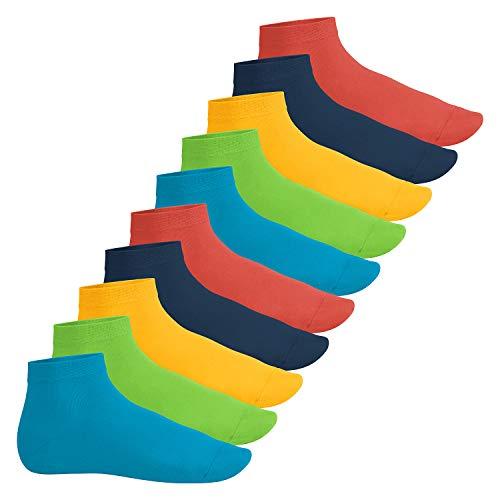 Footstar Herren & Damen Kurzschaft Socken (10 Paar) - Sneak it! - Trendfarben 43-46