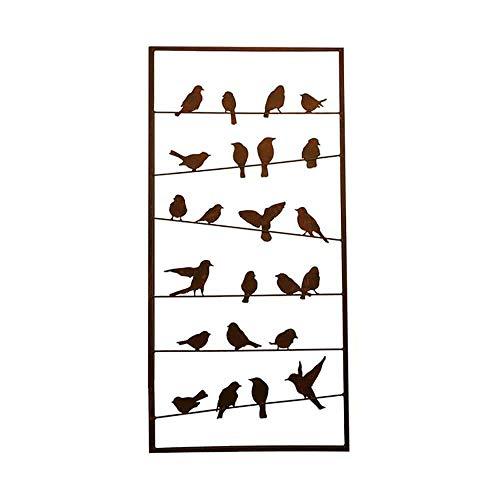 Paravent mit Vögeln aus Metall in Rost Optik - Avem Ferro