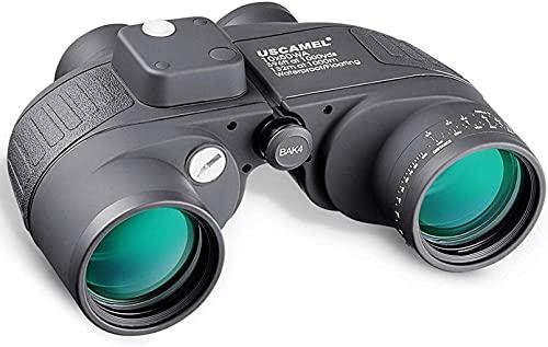 FGVDJ Binoculares 10x50 HD para navegación, óptica de Alta definición, brújula de telémetro analógica iluminada, Resistente al Agua y Duradera, para Adultos en Bote