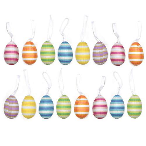 By Robelli 18 paquetes de arte y manualidades para huevos de Pascua, decoración de huevos de 60 mm, cuadros de corazón rosa morado/rayas multicolor pastel (rayas multicolor pastel)