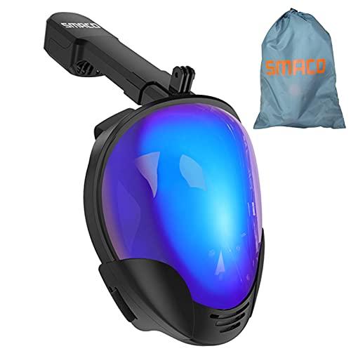 XSGDMN Máscara de Buceo Máscara de Snorkel de Cara Completa 180° Panorámica Vista Máscaras de Buceo Cámara Deportiva Compatible Anti-Niebla Anti-Fugas Gafas de Bucear para Adultos y Mujer,Burst,L