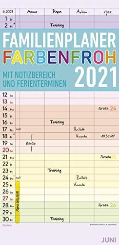 Familienplaner Farbenfroh 2021 mit 4 Spalten - Familien-Timer 22x45 cm - Offset-Papier - mit Ferienterminen - Wand-Planer - Familienkalender - Alpha Edition
