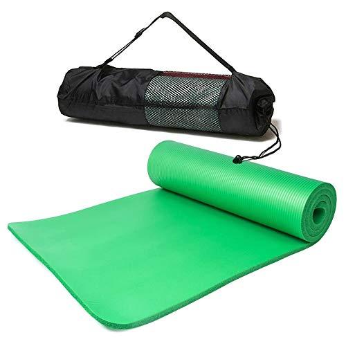 Esterilla Yoga Alfombrilla de Yoga fitness10MM Grueso 183*61cm Esterilla de Fitness Ecológica Colchoneta de Yoga Fitness Gimnasio Cámping Antideslizant con bolsillo cómoda (verde, Grues10MM)