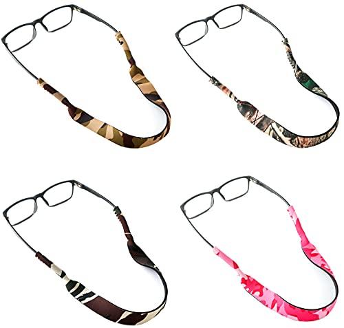 Greyoe Correa de Gafas, Cordon de Gafas, 4 Piezas Camuflaje Antideslizante Cuerda Elástica Gafas Correa de Fijación para Miopía Gafas de sol Gafas Deportivas para Adultos y Niños