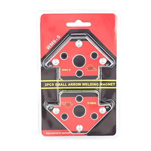 Escuadra Magnética Para Soldar, 2 piezas soporte magnético de soldadura,45 ° / 90 ° / 135 °,Fuerza máxima de extracción 30 kg,Ideal Para Ser Utilizado Como Soporte y Posicionador En Soldadura